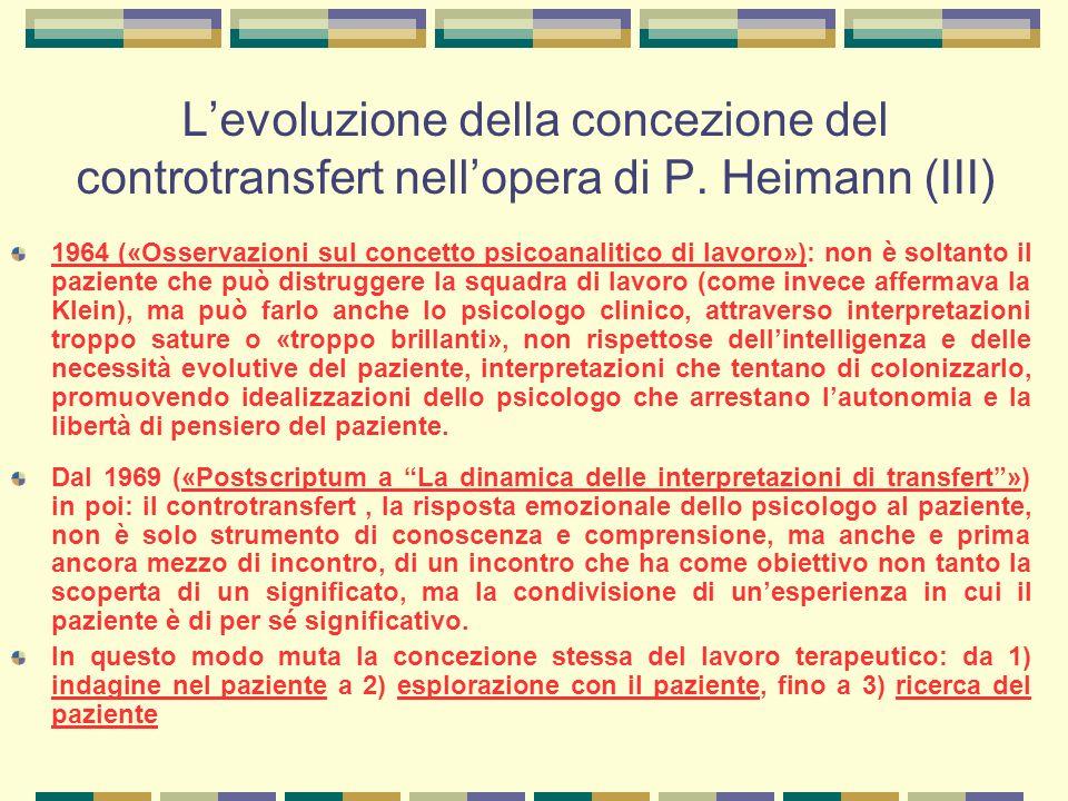L'evoluzione della concezione del controtransfert nell'opera di P.