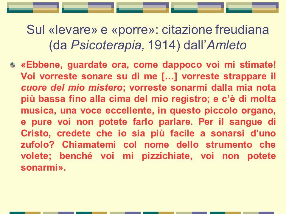 Sul «levare» e «porre»: citazione freudiana (da Psicoterapia, 1914) dall'Amleto «Ebbene, guardate ora, come dappoco voi mi stimate.