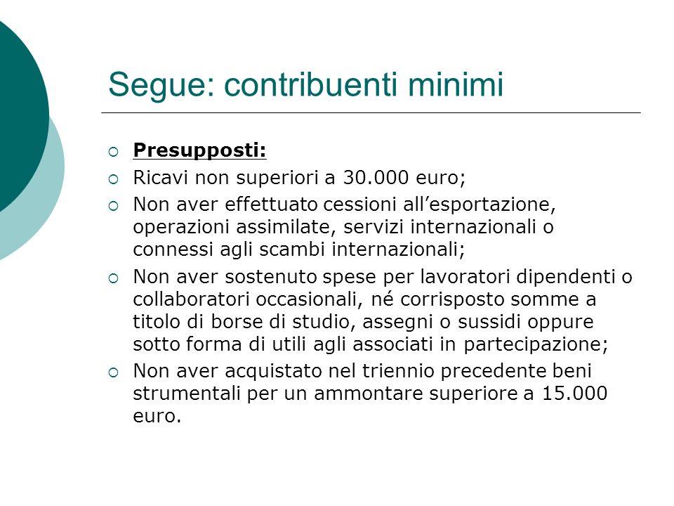 Segue: contribuenti minimi  Presupposti:  Ricavi non superiori a 30.000 euro;  Non aver effettuato cessioni all'esportazione, operazioni assimilate