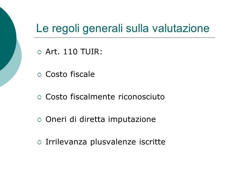 Le regoli generali sulla valutazione  Art. 110 TUIR:  Costo fiscale  Costo fiscalmente riconosciuto  Oneri di diretta imputazione  Irrilevanza pl
