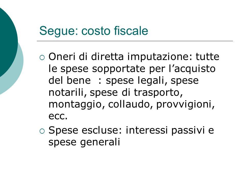 Segue: costo fiscale  Deroghe, lett.b, co. 1, art.