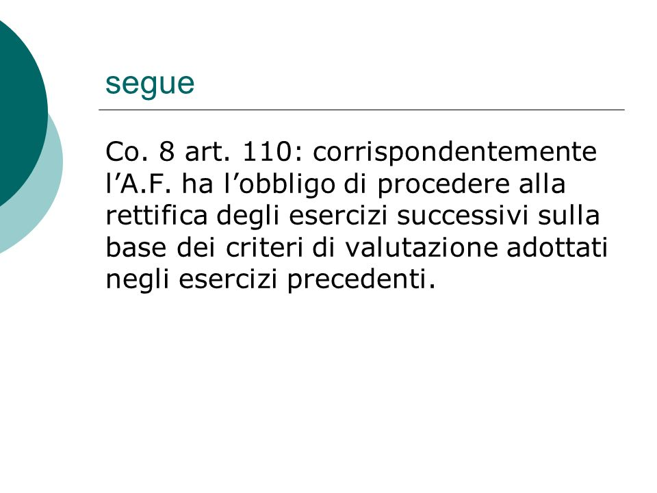 Segue  Valori in natura e valore normale:  Art.110, co.