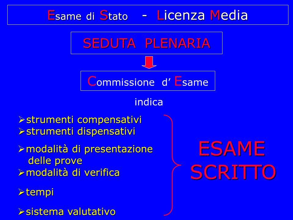 E same di S tato - Licenza Media SEDUTA PLENARIA  strumenti compensativi  strumenti dispensativi  modalità di presentazione delle prove delle prove  modalità di verifica  tempi  sistema valutativo ESAME SCRITTO C ommissione d' E same indica