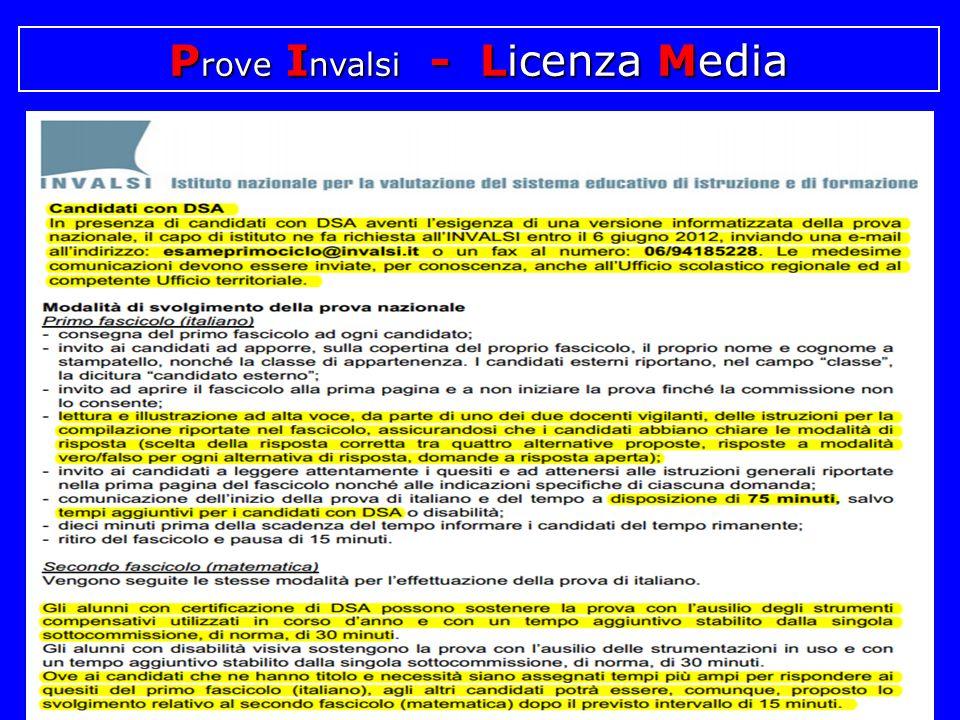 P rove I nvalsi - Licenza Media