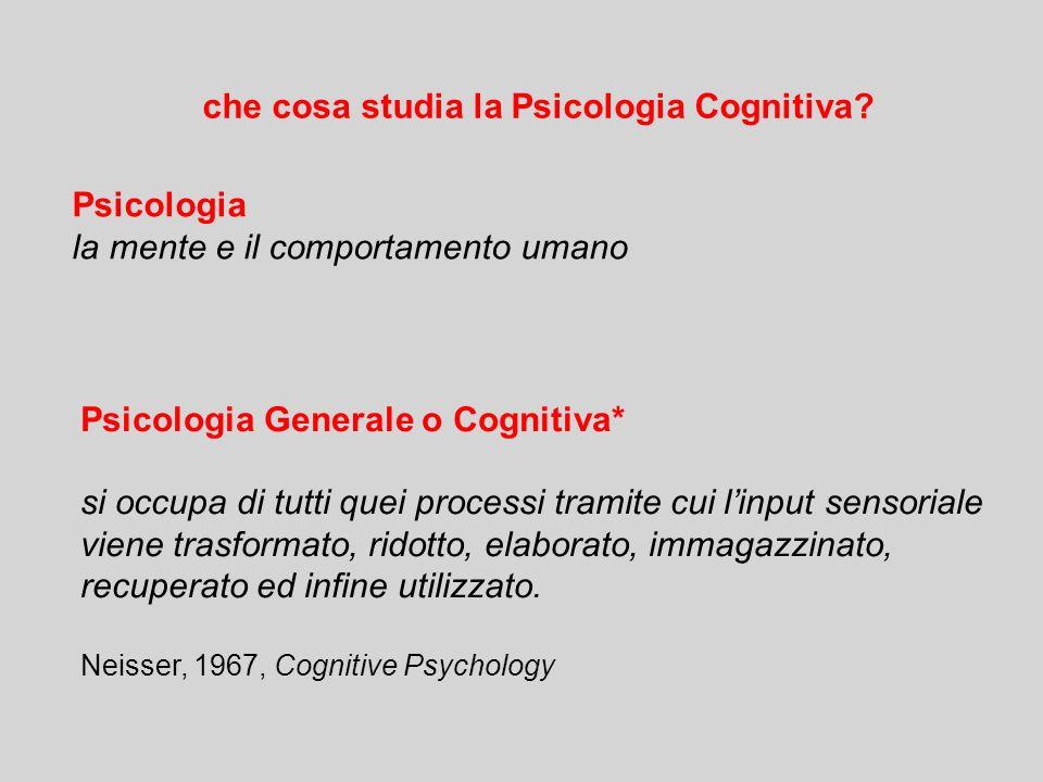 Psicologia la mente e il comportamento umano Psicologia Generale o Cognitiva* si occupa di tutti quei processi tramite cui l'input sensoriale viene trasformato, ridotto, elaborato, immagazzinato, recuperato ed infine utilizzato.