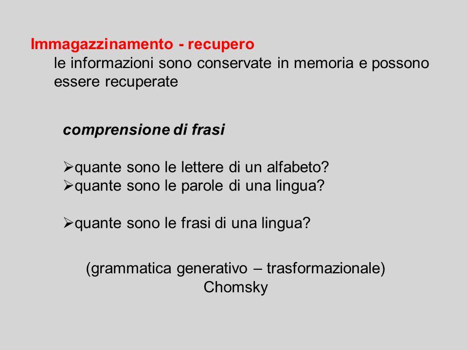 Immagazzinamento - recupero le informazioni sono conservate in memoria e possono essere recuperate comprensione di frasi  quante sono le lettere di un alfabeto.