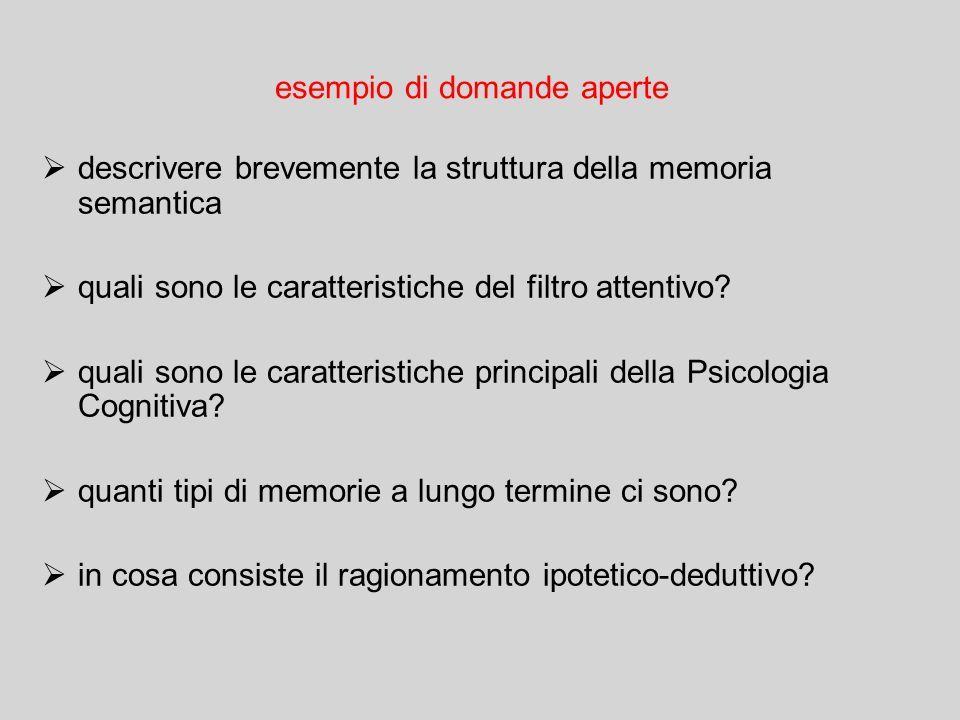 esempio di domande aperte  descrivere brevemente la struttura della memoria semantica  quali sono le caratteristiche del filtro attentivo.