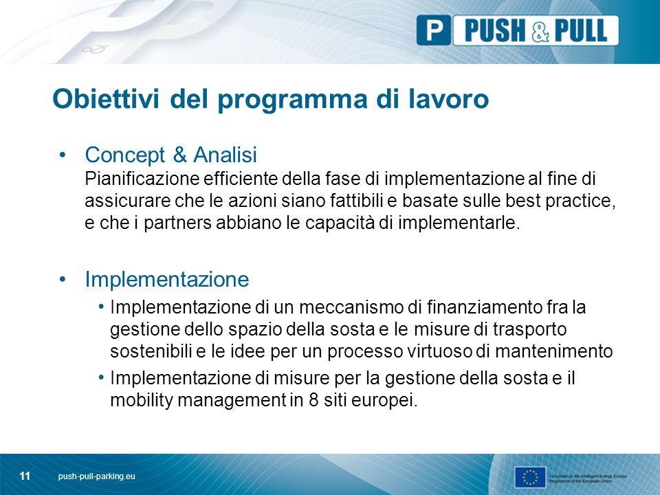 push-pull-parking.eu 11 Obiettivi del programma di lavoro Concept & Analisi Pianificazione efficiente della fase di implementazione al fine di assicurare che le azioni siano fattibili e basate sulle best practice, e che i partners abbiano le capacità di implementarle.