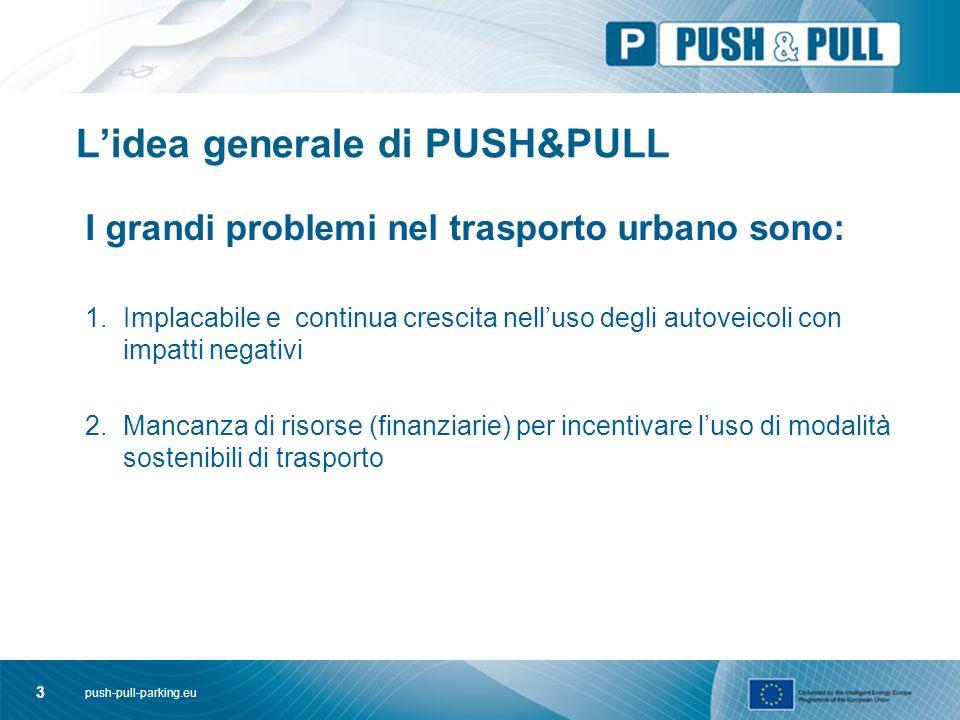 push-pull-parking.eu 4 L'Idea alla base di PUSH & PULL Meccanismi di finanziamento dagli introiti della gestione della sosta (push) utilizzati per incoraggiare l'uso di modalità di trasporto enegeticamente efficiente