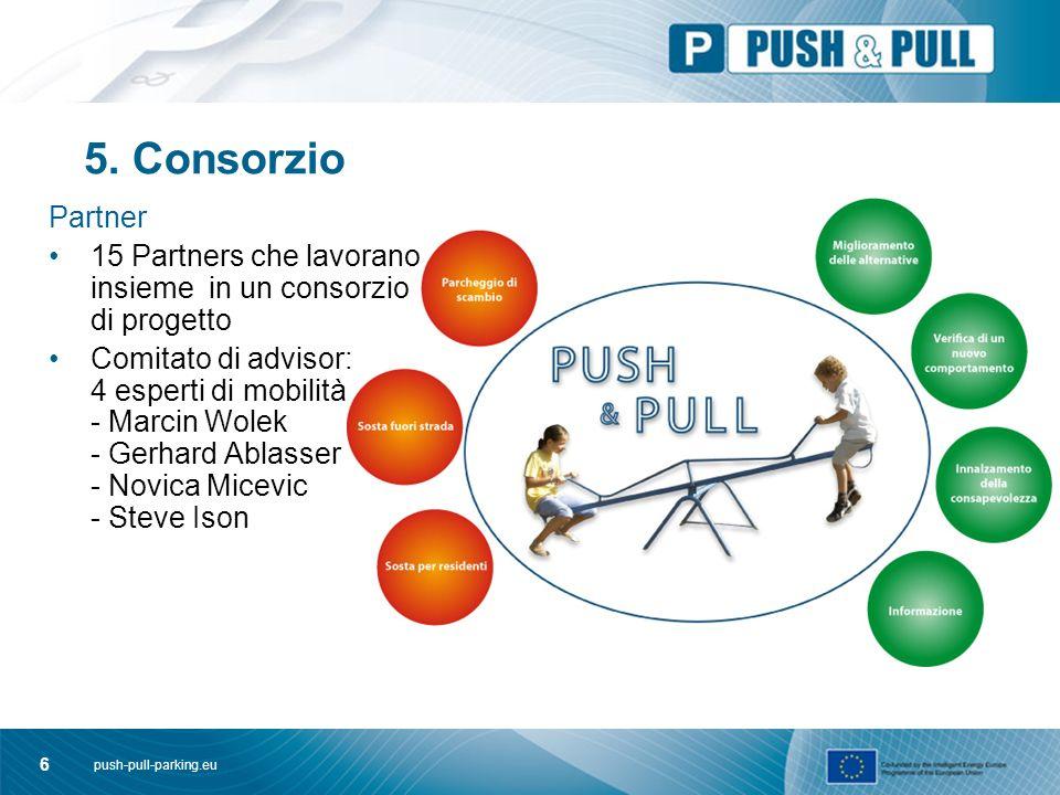 push-pull-parking.eu 6 5. Consorzio Partner 15 Partners che lavorano insieme in un consorzio di progetto Comitato di advisor: 4 esperti di mobilità -