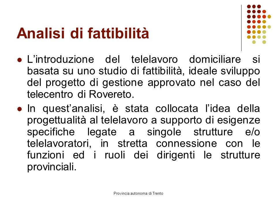 Provincia autonoma di Trento Analisi di fattibilità L'introduzione del telelavoro domiciliare si basata su uno studio di fattibilità, ideale sviluppo del progetto di gestione approvato nel caso del telecentro di Rovereto.