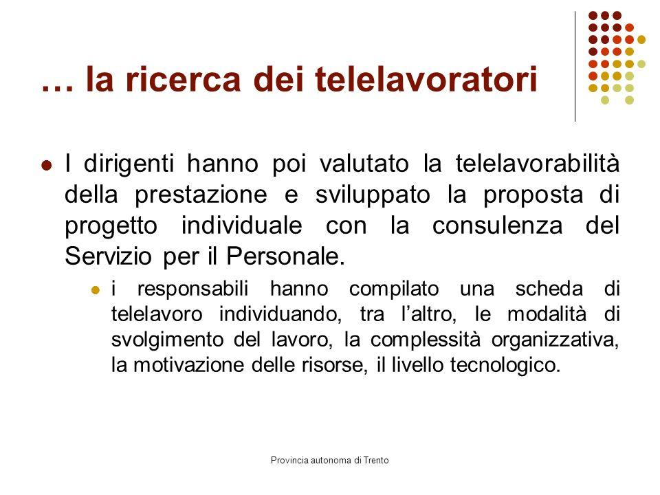 Provincia autonoma di Trento … la ricerca dei telelavoratori I dirigenti hanno poi valutato la telelavorabilità della prestazione e sviluppato la proposta di progetto individuale con la consulenza del Servizio per il Personale.