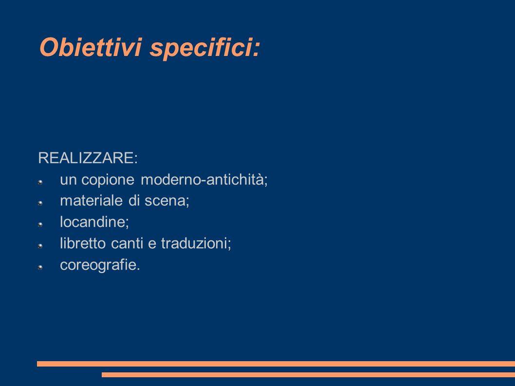 REALIZZARE: un copione moderno-antichità; materiale di scena; locandine; libretto canti e traduzioni; coreografie.