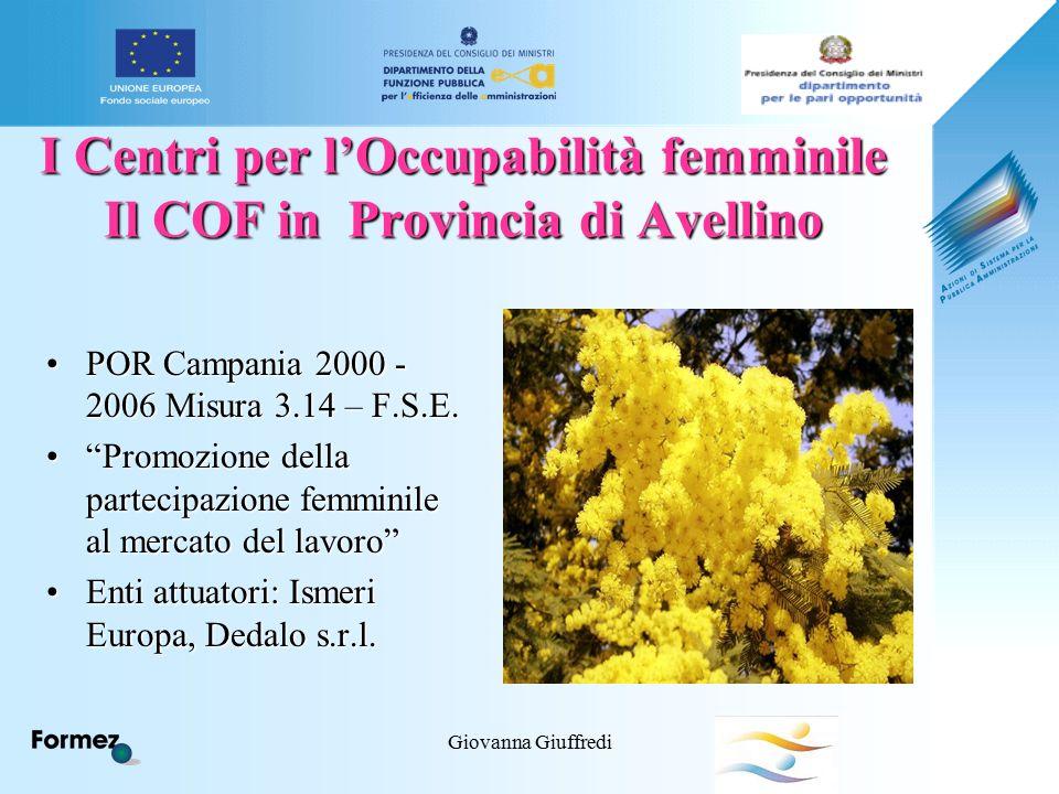 Giovanna Giuffredi I Centri per l'Occupabilità femminile Il COF in Provincia di Avellino POR Campania 2000 - 2006 Misura 3.14 – F.S.E.POR Campania 2000 - 2006 Misura 3.14 – F.S.E.