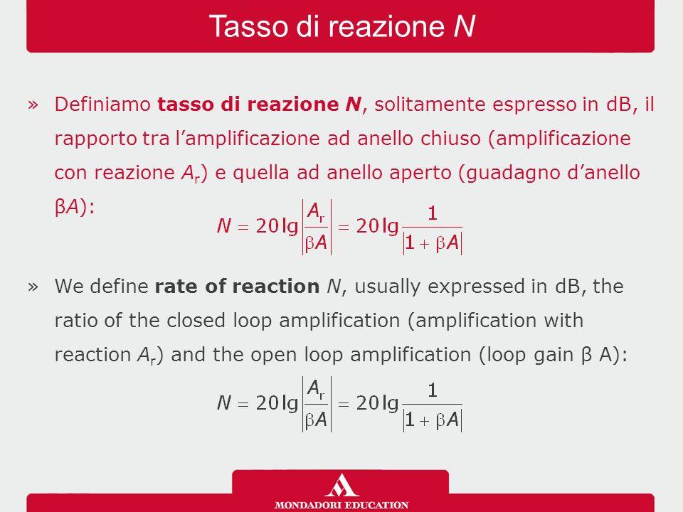 »Definiamo tasso di reazione N, solitamente espresso in dB, il rapporto tra l'amplificazione ad anello chiuso (amplificazione con reazione A r ) e quella ad anello aperto (guadagno d'anello βA): »We define rate of reaction N, usually expressed in dB, the ratio of the closed loop amplification (amplification with reaction A r ) and the open loop amplification (loop gain β A): Tasso di reazione N