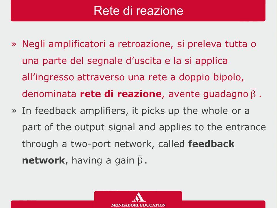 »Negli amplificatori a retroazione, si preleva tutta o una parte del segnale d'uscita e la si applica all'ingresso attraverso una rete a doppio bipolo, denominata rete di reazione, avente guadagno.