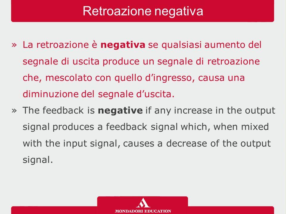 »La retroazione è negativa se qualsiasi aumento del segnale di uscita produce un segnale di retroazione che, mescolato con quello d'ingresso, causa una diminuzione del segnale d'uscita.