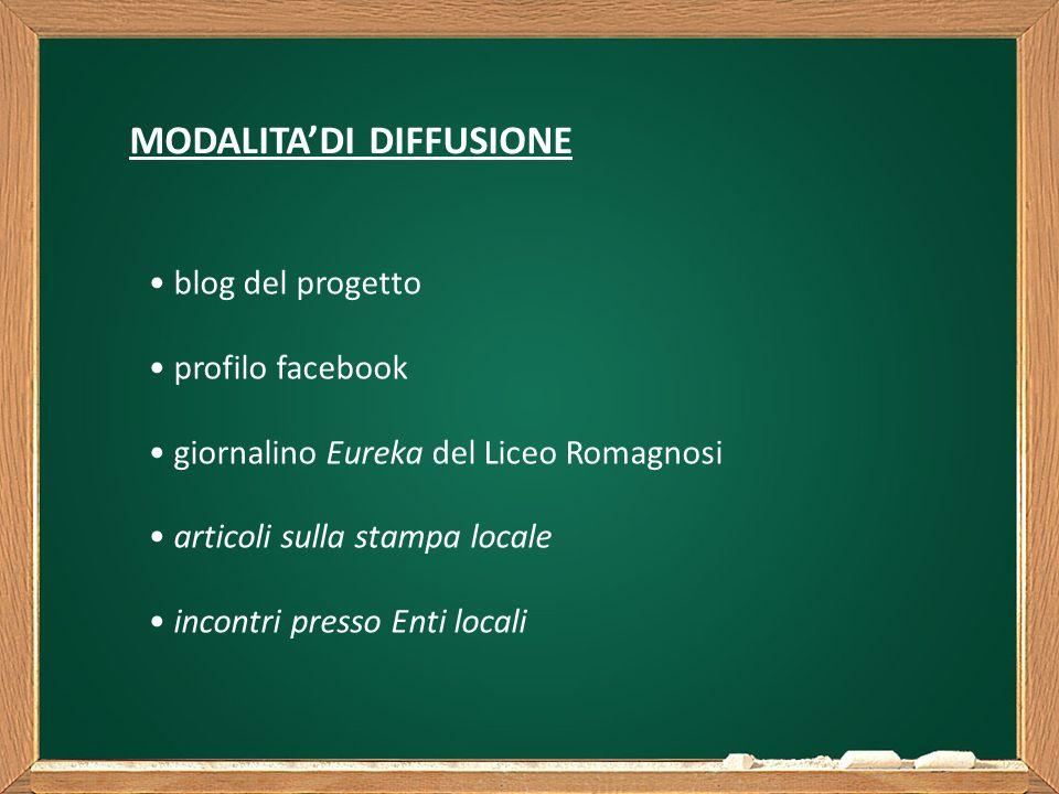 MODALITA'DI DIFFUSIONE blog del progetto profilo facebook giornalino Eureka del Liceo Romagnosi articoli sulla stampa locale incontri presso Enti locali