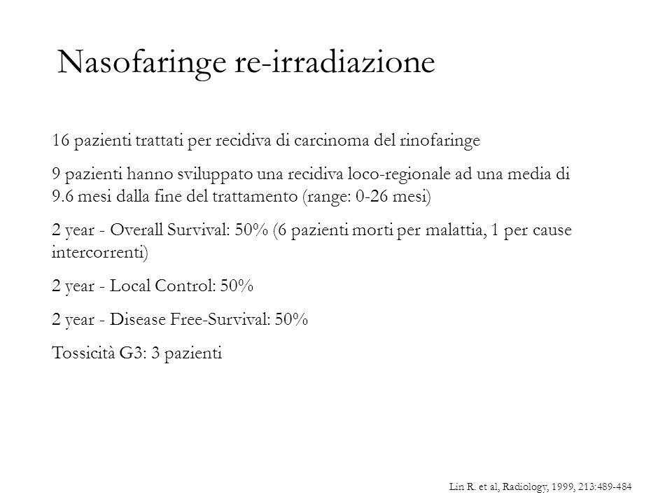 Nasofaringe re-irradiazione Lin R. et al, Radiology, 1999, 213:489-484 16 pazienti trattati per recidiva di carcinoma del rinofaringe 9 pazienti hanno