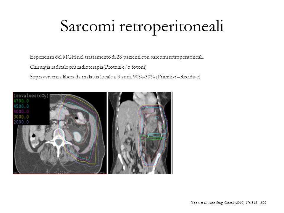 Sarcomi retroperitoneali Yoon et al. Ann Surg Oncol (2010) 17:1515–1529 Esperienza del MGH nel trattamento di 28 pazienti con sarcomi retroperitoneali