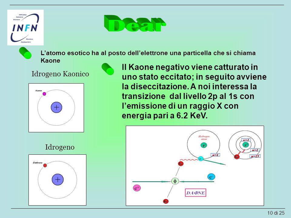 L'atomo esotico ha al posto dell'elettrone una particella che si chiama Kaone Idrogeno Idrogeno Kaonico Il Kaone negativo viene catturato in uno stato