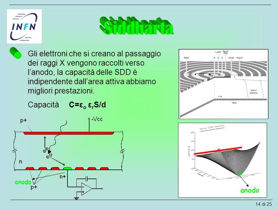 Gli elettroni che si creano al passaggio dei raggi X vengono raccolti verso l'anodo, la capacità delle SDD è indipendente dall'area attiva abbiamo mig