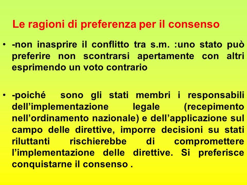 Le ragioni di preferenza per il consenso -non inasprire il conflitto tra s.m.
