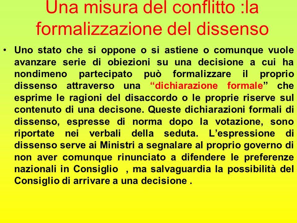 Una misura del conflitto :la formalizzazione del dissenso Uno stato che si oppone o si astiene o comunque vuole avanzare serie di obiezioni su una dec