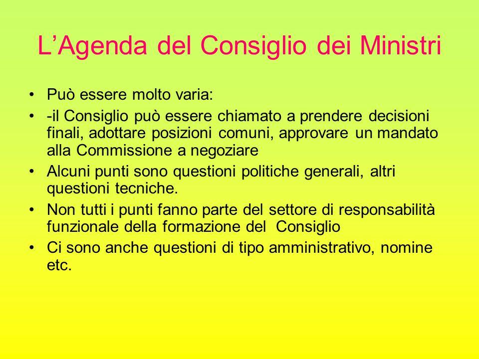 L'Agenda del Consiglio dei Ministri Può essere molto varia: -il Consiglio può essere chiamato a prendere decisioni finali, adottare posizioni comuni,