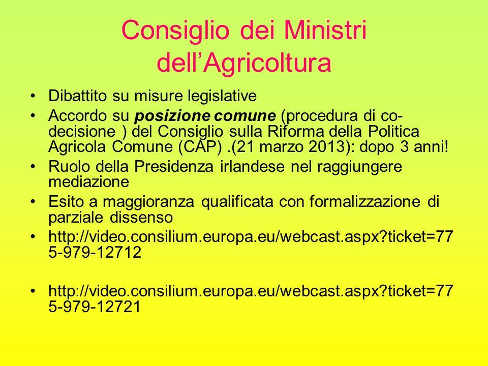 Consiglio dei Ministri dell'Agricoltura Dibattito su misure legislative Accordo su posizione comune (procedura di co- decisione ) del Consiglio sulla