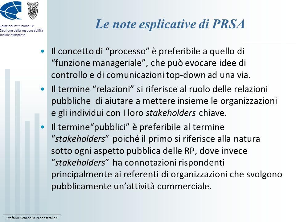 ____________________________ Stefano Scarcella Prandstraller Relazioni istituzionali e Gestione della responsabilità sociale d'impresa Le note esplicative di PRSA Il concetto di processo è preferibile a quello di funzione manageriale , che può evocare idee di controllo e di comunicazioni top-down ad una via.
