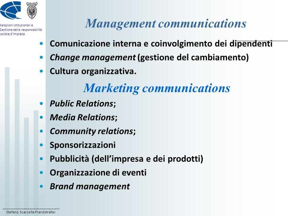 ____________________________ Stefano Scarcella Prandstraller Relazioni istituzionali e Gestione della responsabilità sociale d'impresa Management communications Comunicazione interna e coinvolgimento dei dipendenti Change management (gestione del cambiamento) Cultura organizzativa.