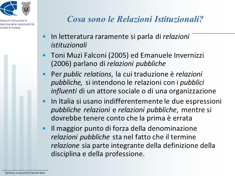 ____________________________ Stefano Scarcella Prandstraller Relazioni istituzionali e Gestione della responsabilità sociale d'impresa Cosa sono le Relazioni Istituzionali.