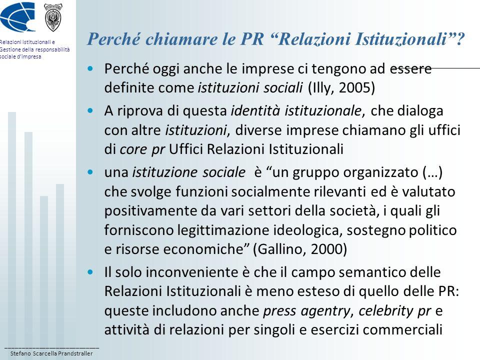 ____________________________ Stefano Scarcella Prandstraller Relazioni istituzionali e Gestione della responsabilità sociale d'impresa Perché chiamare le PR Relazioni Istituzionali .