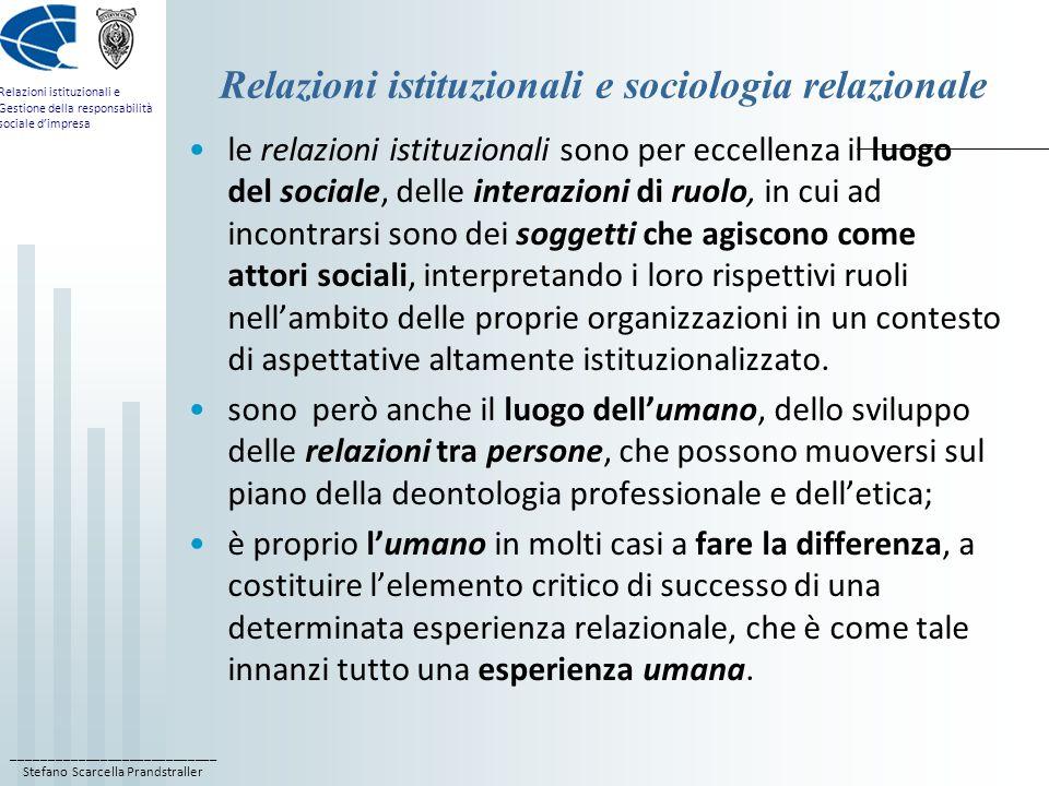____________________________ Stefano Scarcella Prandstraller Relazioni istituzionali e Gestione della responsabilità sociale d'impresa Relazioni istituzionali e sociologia relazionale le relazioni istituzionali sono per eccellenza il luogo del sociale, delle interazioni di ruolo, in cui ad incontrarsi sono dei soggetti che agiscono come attori sociali, interpretando i loro rispettivi ruoli nell'ambito delle proprie organizzazioni in un contesto di aspettative altamente istituzionalizzato.