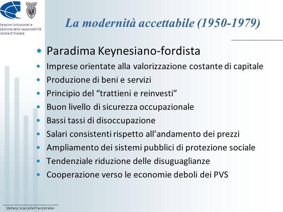 ____________________________ Stefano Scarcella Prandstraller Relazioni istituzionali e Gestione della responsabilità sociale d'impresa La modernità accettabile (1950-1979) Paradima Keynesiano-fordista Imprese orientate alla valorizzazione costante di capitale Produzione di beni e servizi Principio del trattieni e reinvesti Buon livello di sicurezza occupazionale Bassi tassi di disoccupazione Salari consistenti rispetto all'andamento dei prezzi Ampliamento dei sistemi pubblici di protezione sociale Tendenziale riduzione delle disuguaglianze Cooperazione verso le economie deboli dei PVS