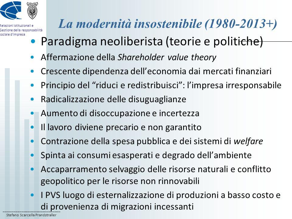 ____________________________ Stefano Scarcella Prandstraller Relazioni istituzionali e Gestione della responsabilità sociale d'impresa La modernità insostenibile (1980-2013+) Paradigma neoliberista (teorie e politiche) Affermazione della Shareholder value theory Crescente dipendenza dell'economia dai mercati finanziari Principio del riduci e redistribuisci : l'impresa irresponsabile Radicalizzazione delle disuguaglianze Aumento di disoccupazione e incertezza Il lavoro diviene precario e non garantito Contrazione della spesa pubblica e dei sistemi di welfare Spinta ai consumi esasperati e degrado dell'ambiente Accaparramento selvaggio delle risorse naturali e conflitto geopolitico per le risorse non rinnovabili I PVS luogo di esternalizzazione di produzioni a basso costo e di provenienza di migrazioni incessanti