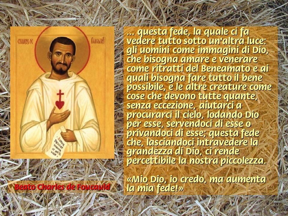 … questa fede, la quale ci fa vedere tutto sotto un'altra luce: gli uomini come immagini di Dio, che bisogna amare e venerare come ritratti del Beneam