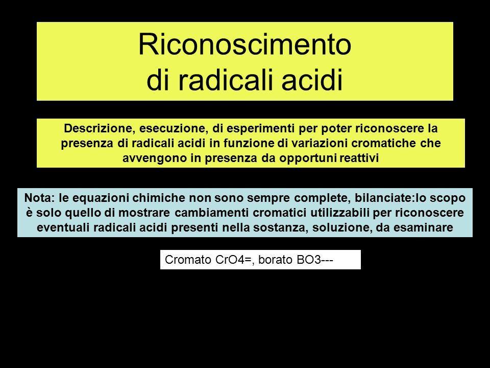 Ricerca radicale cromato CrO4= con aggiunta di AgNO3 Si ottiene un precipitato rosso Soluzione K2CrO4 AgNO3 Precipitato rosso Ag2CrO4 K2CrO4+ 2AgNO3 > Ag2CrO4 + 2 KNO3