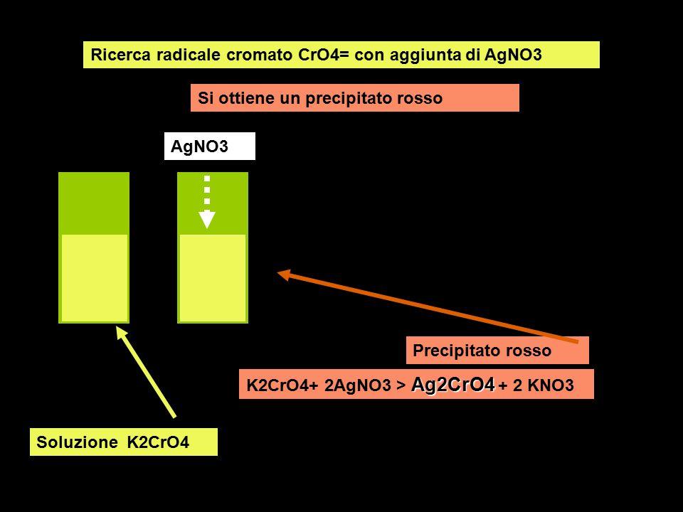 Ricerca radicale cromato CrO4= con aggiunta di AgNO3 Si ottiene un precipitato rosso Soluzione K2CrO4 AgNO3 Precipitato rosso Ag2CrO4 K2CrO4+ 2AgNO3 >