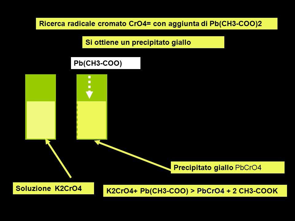 Ricerca radicale cromato CrO4= con aggiunta di Pb(CH3-COO)2 Si ottiene un precipitato giallo Soluzione K2CrO4 Pb(CH3-COO) Precipitato giallo PbCrO4 Pb