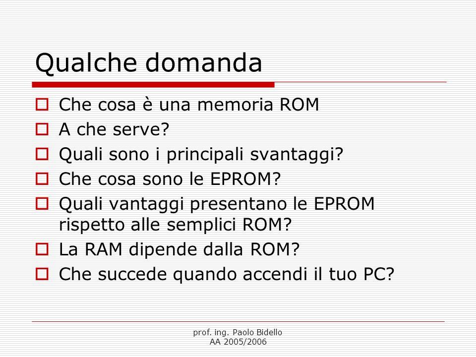 prof. ing. Paolo Bidello AA 2005/2006 Qualche domanda  Che cosa è una memoria ROM  A che serve.