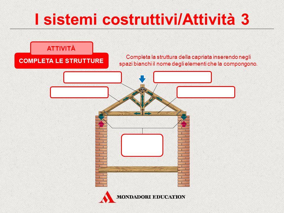 I sistemi costruttivi/Attività 2 COMPLETA LE STRUTTURE ATTIVITÀ Completa la struttura dell'arco inserendo negli spazi bianchi il nome degli elementi c
