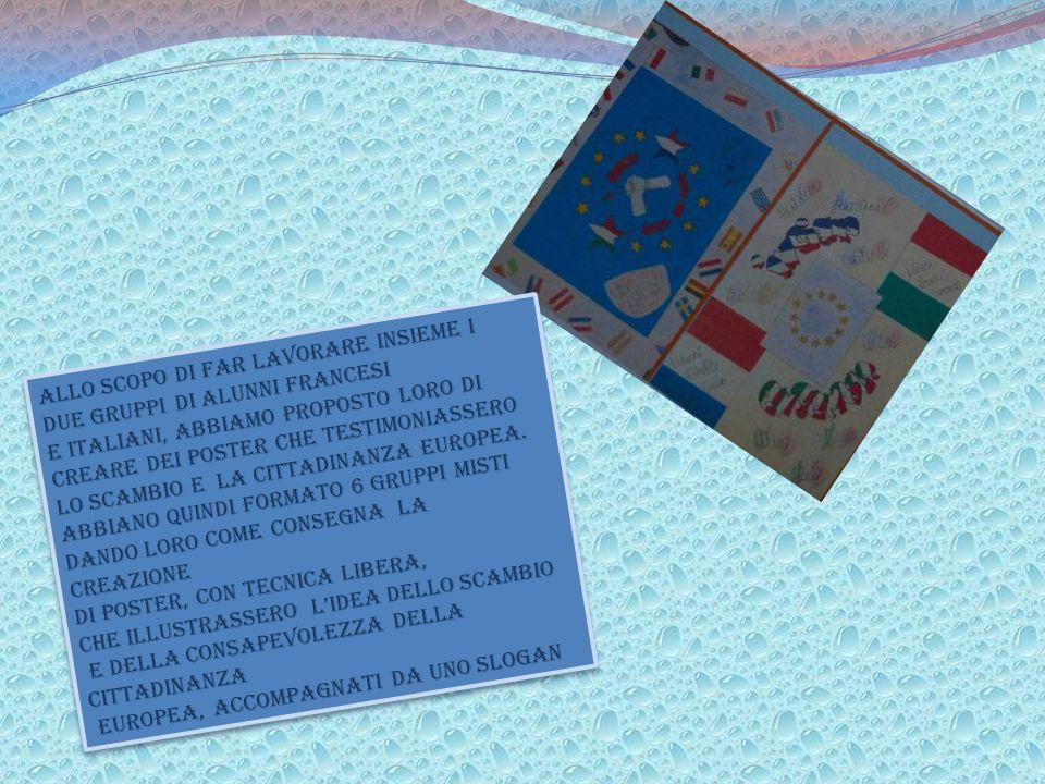 Dans le but de faire travailler ensemble les deux groupes d'élèves français et italiens, on leur a proposé de créer des affiches témoignant l'échange ainsi que la citoyenneté européenne.