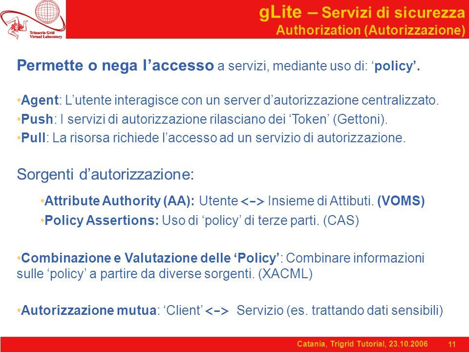 Catania, Trigrid Tutorial, 23.10.2006 11 gLite – Servizi di sicurezza Authorization (Autorizzazione) Permette o nega l'accesso a servizi, mediante uso di: 'policy'.