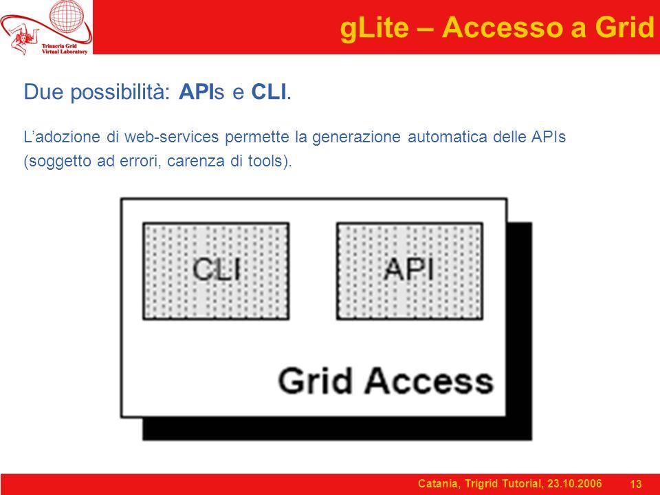 Catania, Trigrid Tutorial, 23.10.2006 13 gLite – Accesso a Grid Due possibilità: APIs e CLI. L'adozione di web-services permette la generazione automa