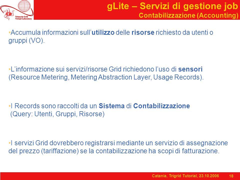 Catania, Trigrid Tutorial, 23.10.2006 18 gLite – Servizi di gestione job Contabilizzazione (Accounting) Accumula informazioni sull'utilizzo delle risorse richiesto da utenti o gruppi (VO).