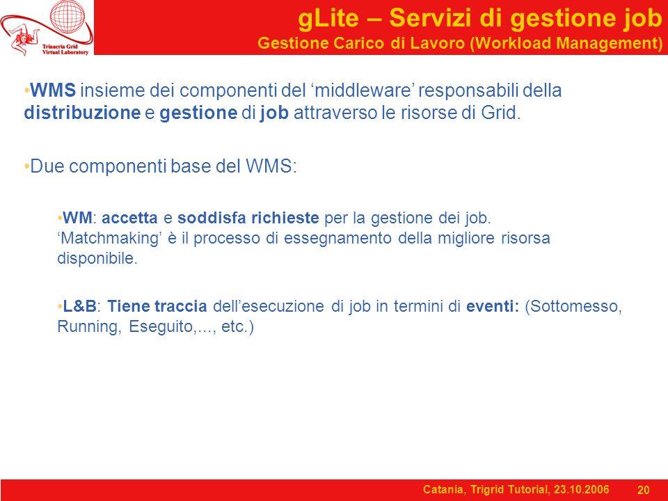 Catania, Trigrid Tutorial, 23.10.2006 20 gLite – Servizi di gestione job Gestione Carico di Lavoro (Workload Management) WMS insieme dei componenti del 'middleware' responsabili della distribuzione e gestione di job attraverso le risorse di Grid.