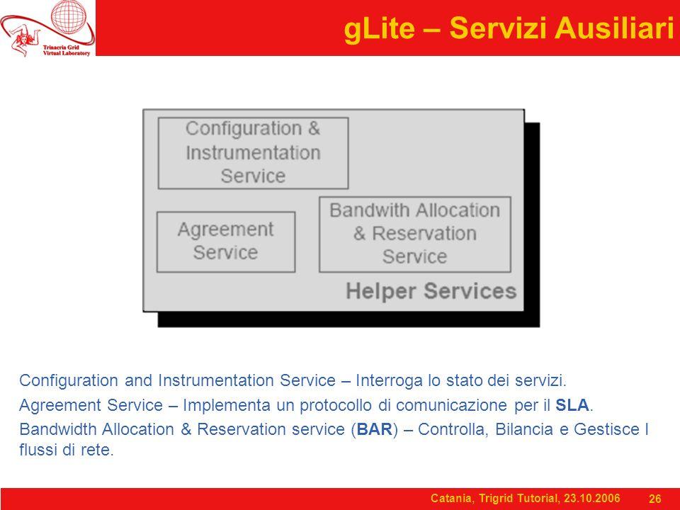 Catania, Trigrid Tutorial, 23.10.2006 26 gLite – Servizi Ausiliari Configuration and Instrumentation Service – Interroga lo stato dei servizi.