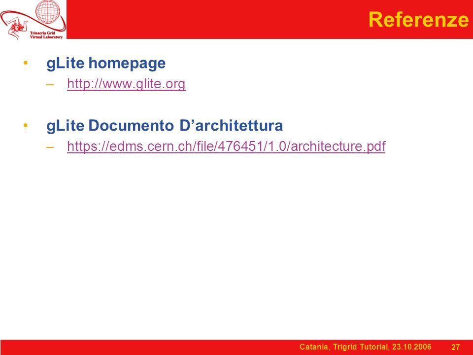 Catania, Trigrid Tutorial, 23.10.2006 27 Referenze gLite homepage –http://www.glite.orghttp://www.glite.org gLite Documento D'architettura –https://edms.cern.ch/file/476451/1.0/architecture.pdfhttps://edms.cern.ch/file/476451/1.0/architecture.pdf